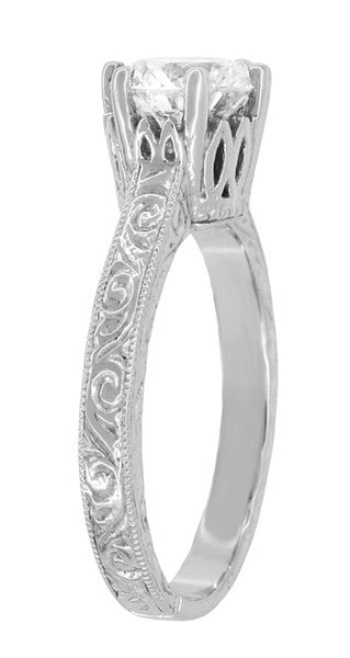 Art Deco Filigree Scrolls Tiara Crown 1.19 Carat Solitaire Diamond Engraved Engagement Ring in 18 Karat White Gold - Item: R199WD125 - Image: 3