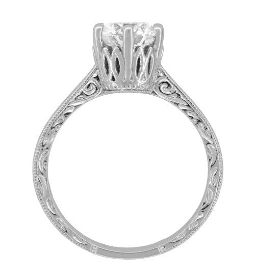 Art Deco Filigree Scrolls Tiara Crown 1.19 Carat Solitaire Diamond Engraved Engagement Ring in 18 Karat White Gold - Item: R199WD125 - Image: 4