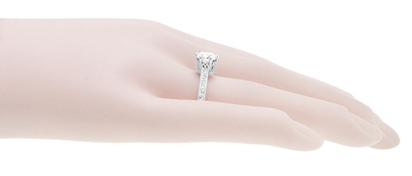 Art Deco Filigree Scrolls Tiara Crown 1.19 Carat Solitaire Diamond Engraved Engagement Ring in 18 Karat White Gold - Item: R199WD125 - Image: 8