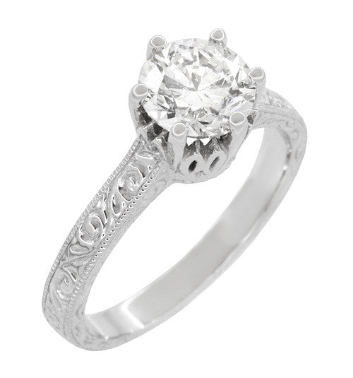 Art Deco Filigree Scrolls Tiara Crown 1.19 Carat Solitaire Diamond Engraved Engagement Ring in 18 Karat White Gold - Item: R199WD125 - Image: 1