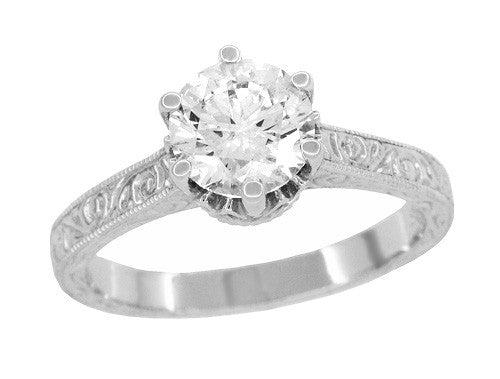 Art Deco Filigree Scrolls Tiara Crown 1.19 Carat Solitaire Diamond Engraved Engagement Ring in 18 Karat White Gold