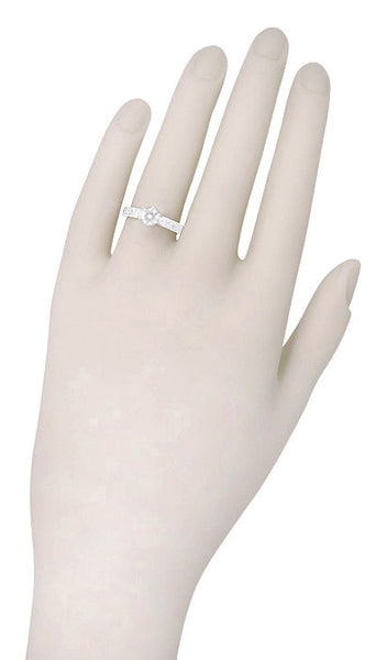 Art Deco Crown Filigree Scrolls Engraved 1/3 Carat Solitaire Diamond Engagement Ring in 18 Karat White Gold - Item: R199WD33 - Image: 4
