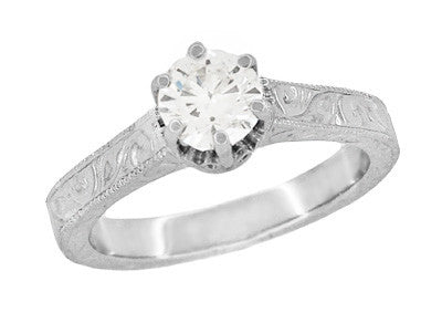 Filigree Scrolls Engraved Solitaire Diamond Art Deco Crown Engagement Ring in 18 Karat White Gold