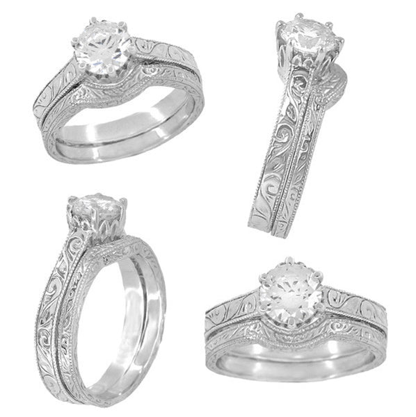 Art Deco Crown Filigree Scrolls 3/4 Carat Solitaire Diamond Engraved Filigree Engagement Ring in 18 Karat White Gold - Item: R199WD75 - Image: 5
