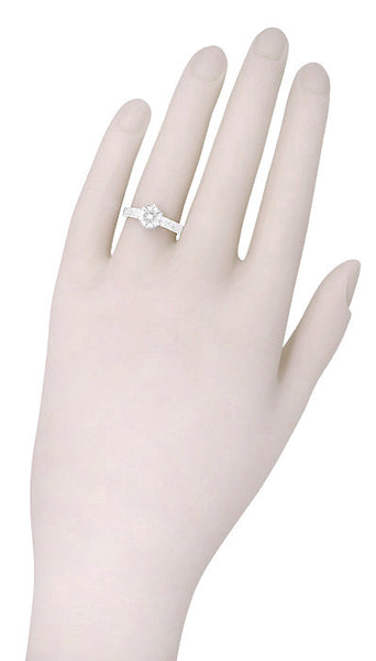 Art Deco Crown Filigree Scrolls 3/4 Carat Solitaire Diamond Engraved Filigree Engagement Ring in 18 Karat White Gold - Item: R199WD75 - Image: 6