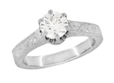 Art Deco Crown Filigree Scrolls 3/4 Carat Solitaire Diamond Engraved Filigree Engagement Ring in 18 Karat White Gold - Item: R199WD75 - Image: 1