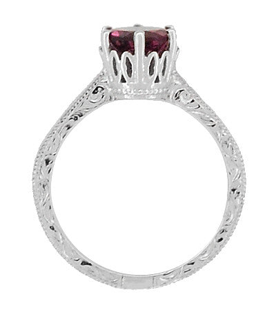 Art Deco Crown Filigree Scrolls 1.5 Carat Rhodolite Garnet Engagement Ring in 18 Karat White Gold - Item: R199WG - Image: 3