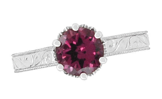 Art Deco Crown Filigree Scrolls 1.5 Carat Rhodolite Garnet Engagement Ring in 18 Karat White Gold - Item: R199WG - Image: 4