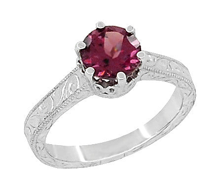 Art Deco Crown Filigree Scrolls 1.5 Carat Rhodolite Garnet Engagement Ring in 18 Karat White Gold - Item: R199WG - Image: 1