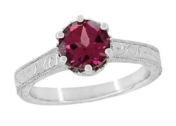 Art Deco Crown Filigree Scrolls 1.5 Carat Rhodolite Garnet Engagement Ring in 18 Karat White Gold