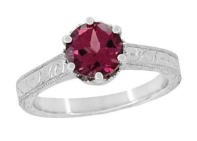 Vintage Solitaire Rhodolite Garnet Engagement Ring - Filigree Crown Setting with Engraved Sides - R199WG