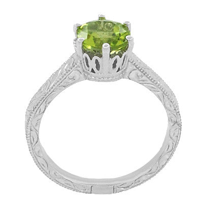 Art Deco Crown Filigree Scrolls Solitaire Peridot Engagement Ring in 18 Karat White Gold - Item: R199WPER - Image: 3