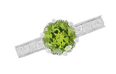 Art Deco Crown Filigree Scrolls Solitaire Peridot Engagement Ring in 18 Karat White Gold - Item: R199WPER - Image: 4