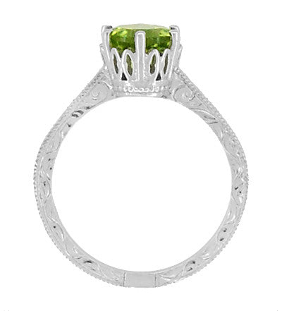 Art Deco Crown Filigree Scrolls Solitaire Peridot Engagement Ring in 18 Karat White Gold - Item: R199WPER - Image: 5