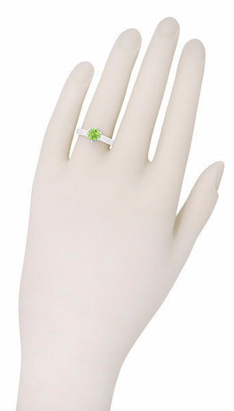 Art Deco Crown Filigree Scrolls Solitaire Peridot Engagement Ring in 18 Karat White Gold - Item: R199WPER - Image: 6