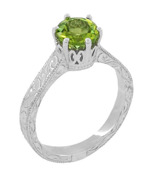 Art Deco Crown Filigree Scrolls Solitaire Peridot Engagement Ring in 18 Karat White Gold - Item: R199WPER - Image: 1