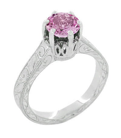 Art Deco Crown Filigree Scrolls 1 Carat Pink Sapphire Engraved Engagement Ring in 18 Karat White Gold - Item: R199WPS - Image: 2