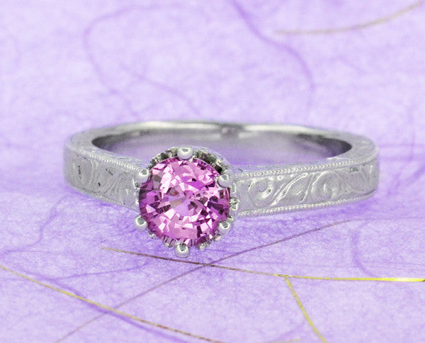 Art Deco Crown Filigree Scrolls 1 Carat Pink Sapphire Engraved Engagement Ring in 18 Karat White Gold - Item: R199WPS - Image: 7