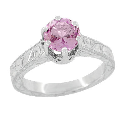 Art Deco Crown Filigree Scrolls 1 Carat Pink Sapphire Engraved Engagement Ring in 18 Karat White Gold - Item: R199WPS - Image: 1