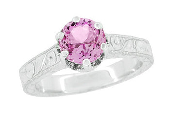 Art Deco Crown Filigree Scrolls 1 Carat Pink Sapphire Engraved Engagement Ring in 18 Karat White Gold