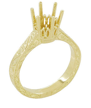 1.25 - 1.50 Carat Crown Filigree Scrolls Art Deco Engagement Ring Setting in 18 Karat Yellow Gold