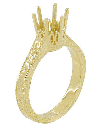 Art Deco 1.50 - 1.75 Carat Filigree Scrolls Crown Engagement Ring Setting in 18K Yellow Gold - Round Stone Mounting - Item: R199Y150 - Image: 3