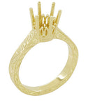 Art Deco 1.50 - 1.75 Carat Filigree Scrolls Crown Engagement Ring Setting in 18K Yellow Gold - Round Stone Mounting
