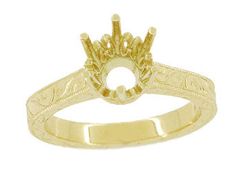 Art Deco 1.75 - 2.25 Carat Crown Filigree Scrolls Engagement Ring Setting in 18 Karat Yellow Gold - Item: R199Y175 - Image: 2
