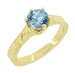 Art Deco Crown Filigree Scrolls 1 Carat Aquamarine Engraved Engagement Ring in 18 Karat Yellow Gold