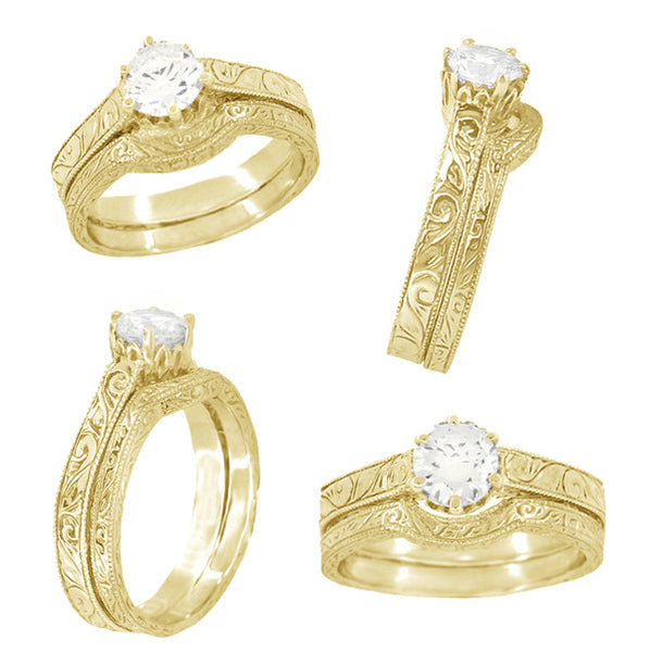 Filigree Scrolls Art Deco 1/4 Carat Crown Engagement Ring Setting in 18 Karat Yellow Gold - Item: R199Y25 - Image: 4