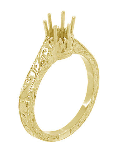 1/3 Carat Crown Filigree Scrolls Art Deco Engagement Ring Setting in Yellow Gold - 14 Karat or 18 Karat - Item: R199Y33K14 - Image: 3