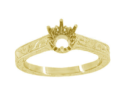 Art Deco 1/2 Carat Crown Filigree Scrolls Engagement Ring Setting in 18 Karat Yellow Gold - Item: R199Y50 - Image: 2