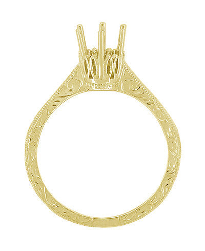 Art Deco 1/2 Carat Crown Filigree Scrolls Engagement Ring Setting in 18 Karat Yellow Gold - Item: R199Y50 - Image: 1