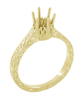 Art Deco 1/2 Carat Crown Filigree Scrolls Engagement Ring Setting in 18 Karat Yellow Gold