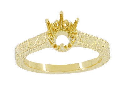 Art Deco 3/4 Carat Crown Filigree Scrolls Engagement Ring Setting in 18 Karat Yellow Gold - Item: R199Y75 - Image: 2