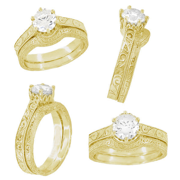 Art Deco Yellow Gold 3/4 Carat Crown Filigree Scrolls Engagement Ring Setting - Item: R199Y75K14 - Image: 4