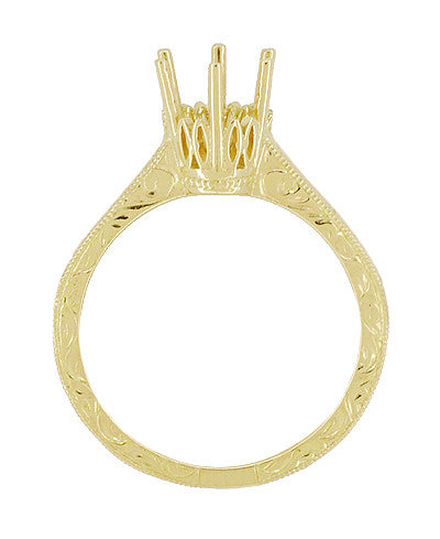 Art Deco Yellow Gold 3/4 Carat Crown Filigree Scrolls Engagement Ring Setting - Item: R199Y75K14 - Image: 1