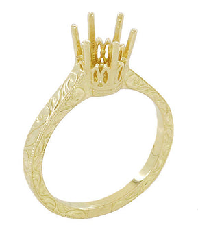 Art Deco Yellow Gold 3/4 Carat Crown Filigree Scrolls Engagement Ring Setting