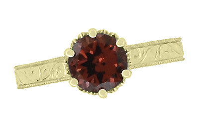 Art Deco Crown Filigree Scrolls 1.5 Carat Almandine Garnet Engagement Ring in 18 Karat Yellow Gold - Item: R199YAG - Image: 4