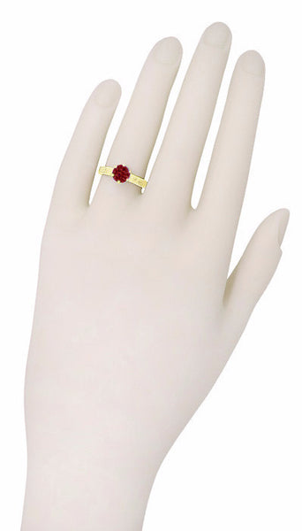 Art Deco Crown Filigree Scrolls 1.5 Carat Almandine Garnet Engagement Ring in 18 Karat Yellow Gold - Item: R199YAG - Image: 5