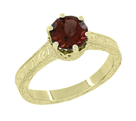 Art Deco Crown Filigree Scrolls 1.5 Carat Almandine Garnet Engagement Ring in 18 Karat Yellow Gold - Item: R199YAG - Image: 1