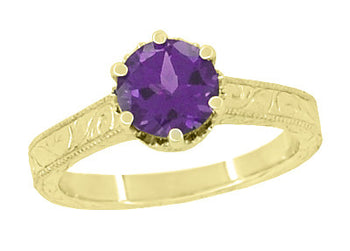 Art Deco Crown Filigree Scrolls Amethyst Engagement Ring in 18 Karat Yellow Gold