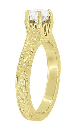Art Deco Crown Filigree Scrolls Engraved Solitaire Diamond Engagement Ring in 18 Karat Yellow Gold - Item: R199YD50 - Image: 3