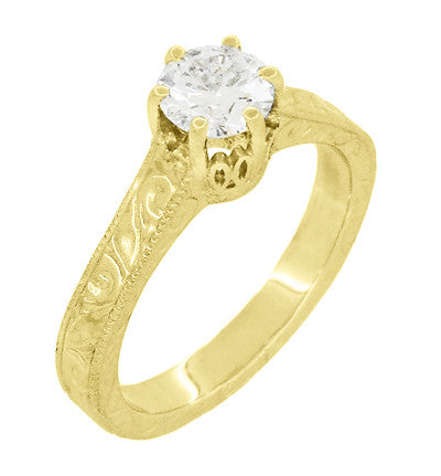 Art Deco Crown Filigree Scrolls Engraved Solitaire Diamond Engagement Ring in 18 Karat Yellow Gold - Item: R199YD50 - Image: 2