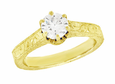 Art Deco Crown Filigree Scrolls Engraved Solitaire Diamond Engagement Ring in 18 Karat Yellow Gold