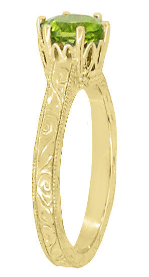 Art Deco Crown Filigree Scrolls 1.25 Carat Peridot Engagement Ring in 18 Karat Yellow Gold - Item: R199YPER - Image: 2