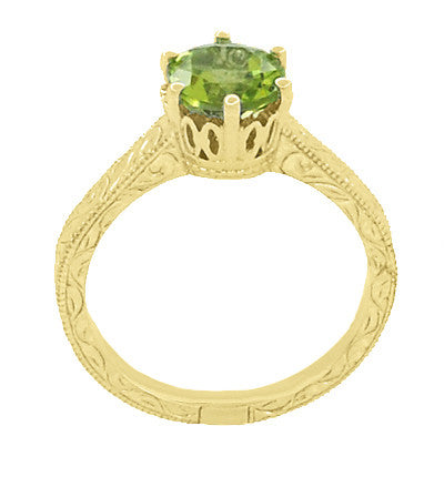 Art Deco Crown Filigree Scrolls 1.25 Carat Peridot Engagement Ring in 18 Karat Yellow Gold - Item: R199YPER - Image: 3