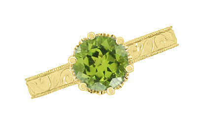 Art Deco Crown Filigree Scrolls 1.25 Carat Peridot Engagement Ring in 18 Karat Yellow Gold - Item: R199YPER - Image: 4