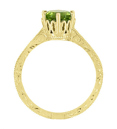 Art Deco Crown Filigree Scrolls 1.25 Carat Peridot Engagement Ring in 18 Karat Yellow Gold - Item: R199YPER - Image: 5