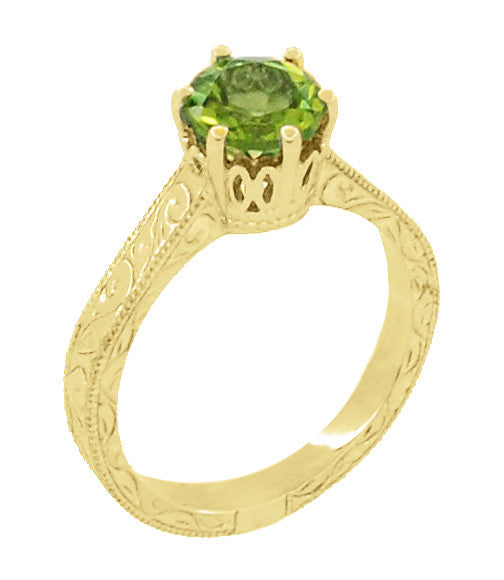 Art Deco Crown Filigree Scrolls 1.25 Carat Peridot Engagement Ring in 18 Karat Yellow Gold - Item: R199YPER - Image: 1